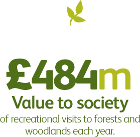£484m Value to society of recreational visits to forests each year