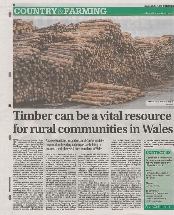 Timber a vital resource - Western Mail 21 08 2018 (2)