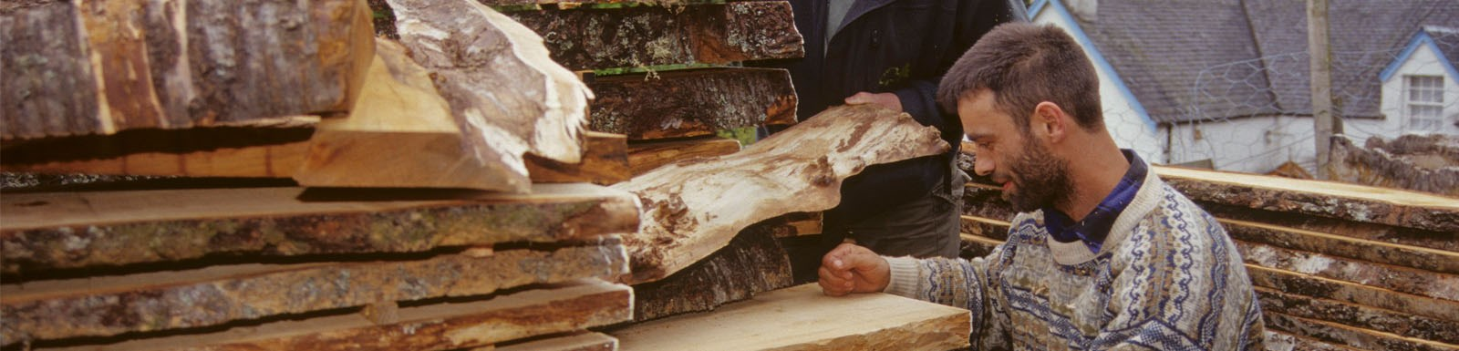 man checking timber